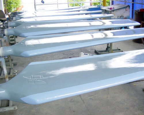 Cooling tower fan blades resurfaced and coated with corrosion resistant Belzona